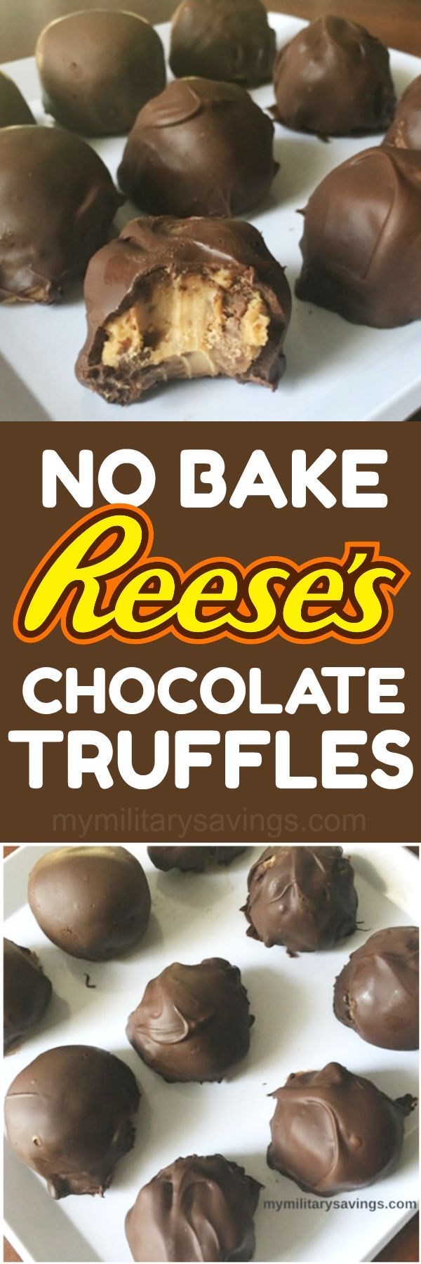 DELICIOUS No Bake Reese's Peanut Butter Cup Chocolate Truffles recipe! Add this to your dessert recipes board!