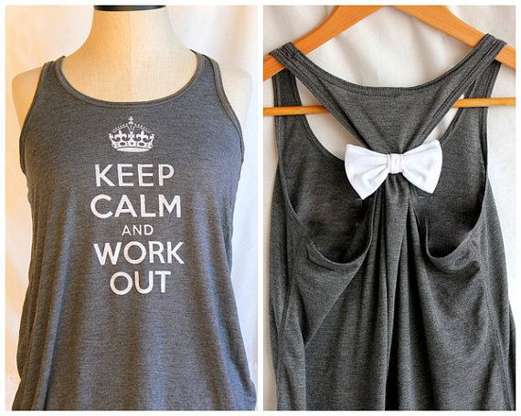 Grey Keep Calm and Work Out  LARGE by personTen on Etsy, $35.00