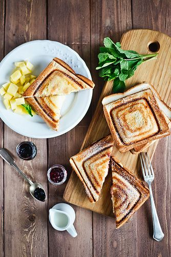 Toasts with cream cheese and jam.