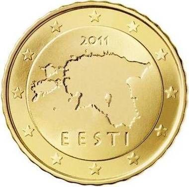 ESTONIA 10 cent: Mappa dell'Estonia con l'anno di conio al di sopra di essa e la scritta EESTI (Estonia) al di sotto. Intorno 12 stelle a cinque punte rappresentanti l'Unione Europea. Autore: Lembit Lõhmus.