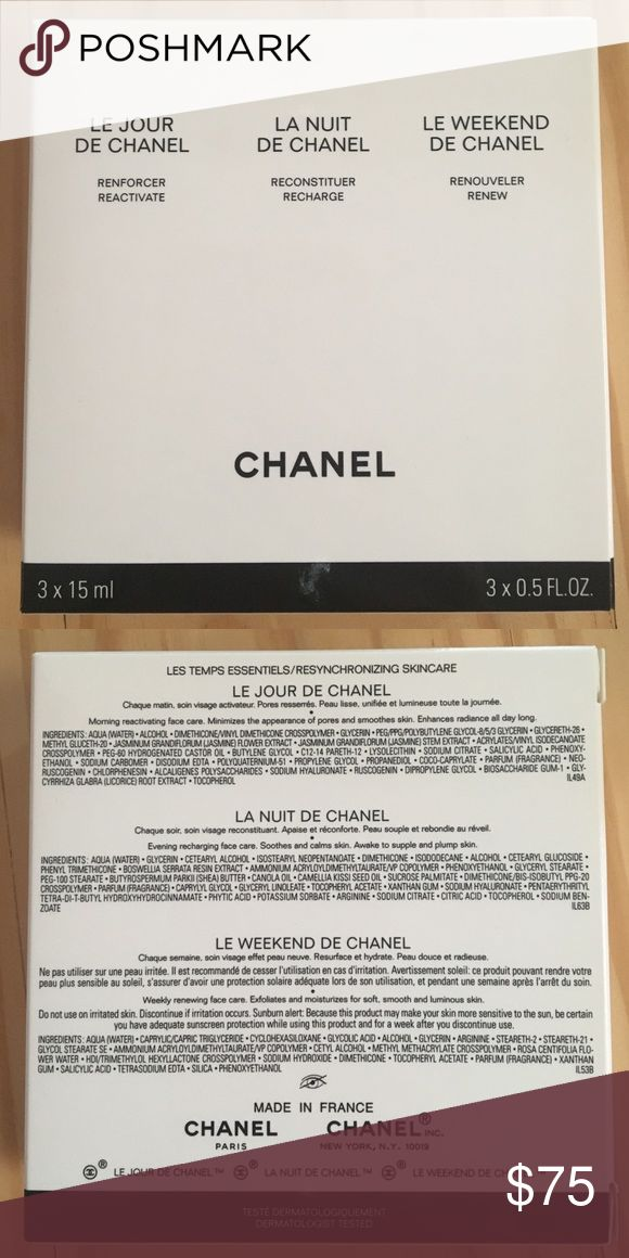 Chanel gift set Includes Le Jour De Chanel, La Nuit De Chanel & Le Weekend De Chanel. Each are 0.5 fl oz. brand new in box, never opened/used. Same or next day shipping! CHANEL Makeup