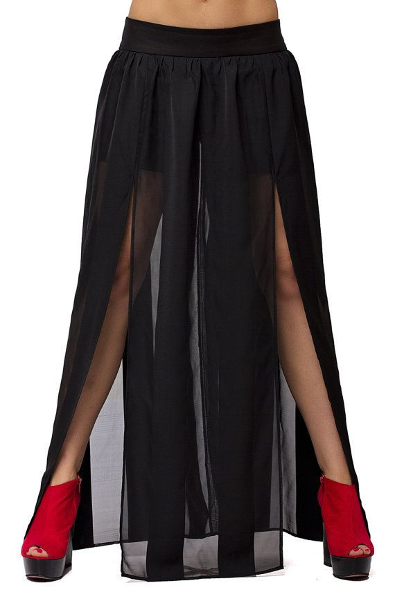 Sheer Maxi Skirt / Thigh High Slit Skirt / Black by Metamorphoza