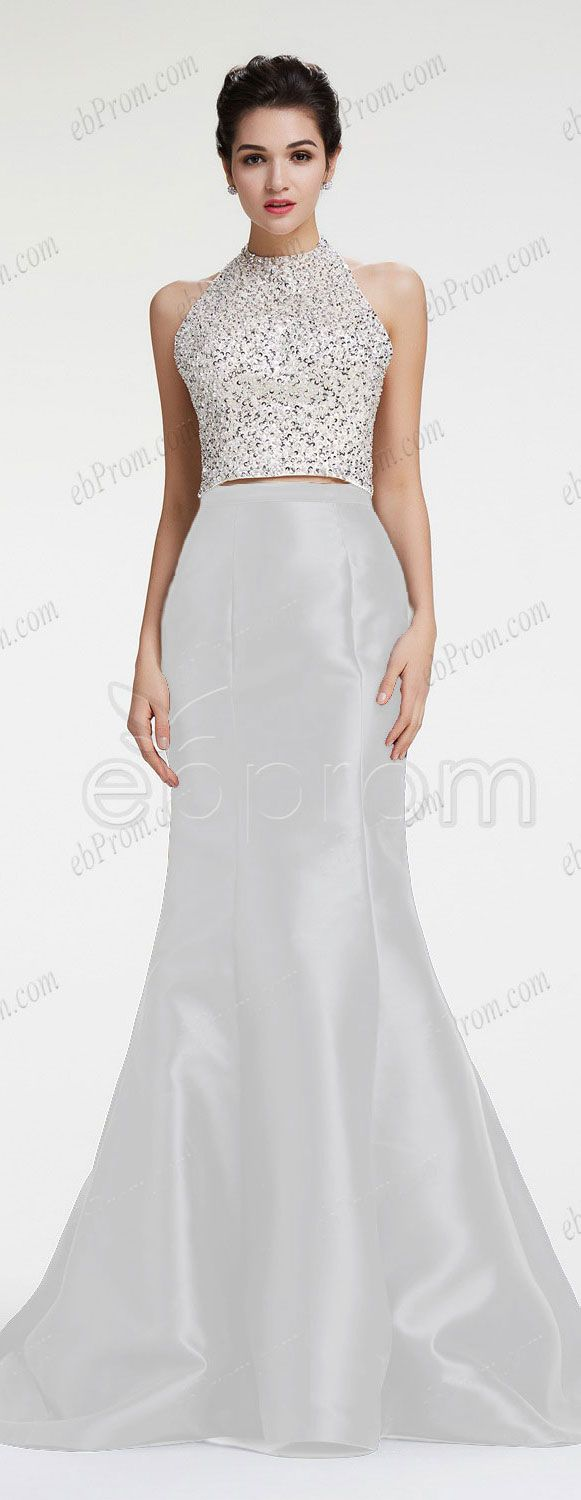 Halter beaded sparkle prom dresses white two piece homecoming dresses mermaid pageant dresses