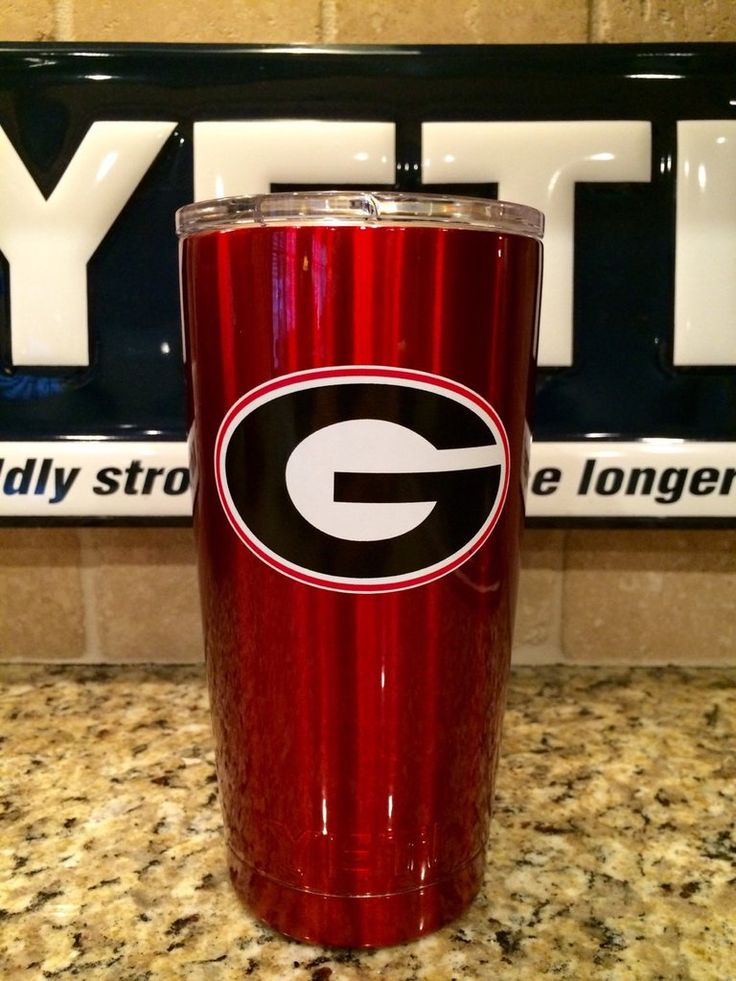 Custom  YETI Rambler Tumbler  Candy Red UGA Georgia Bulldogs Logo - Powder…