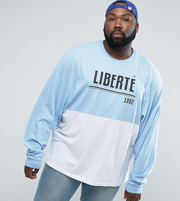 ASOS PLUS Super Oversized Batwing Long Sleeve T-Shirt With Liberte Pri