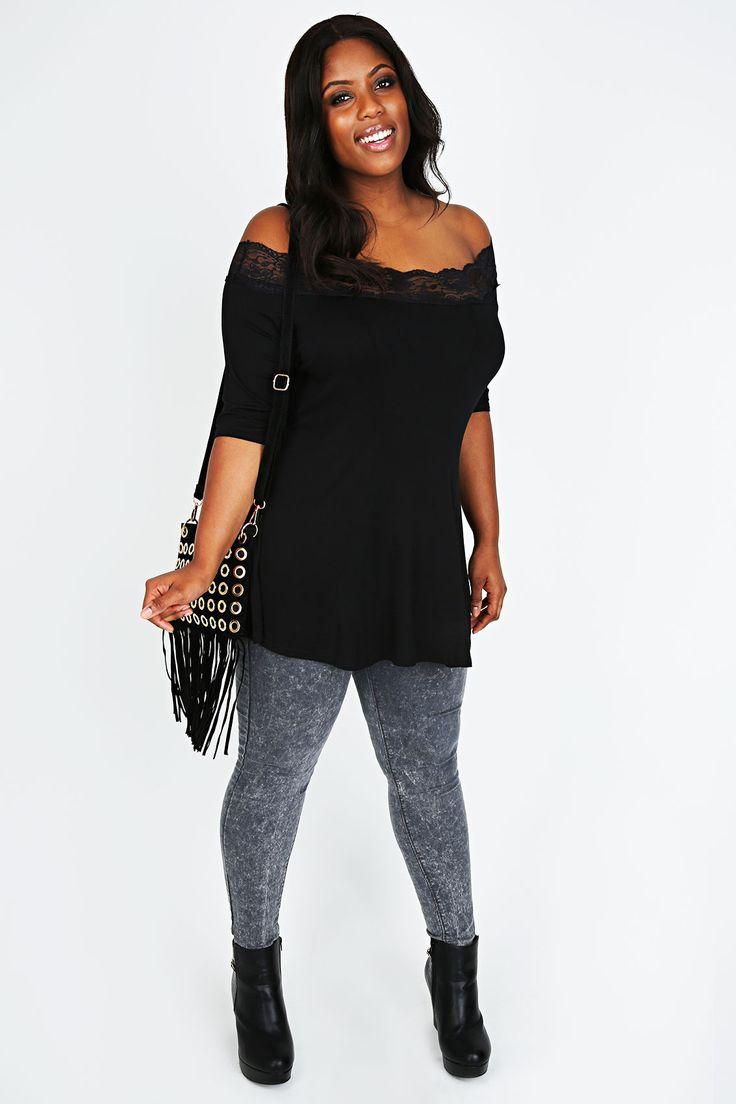 Black Bardot Top With Lace Trim