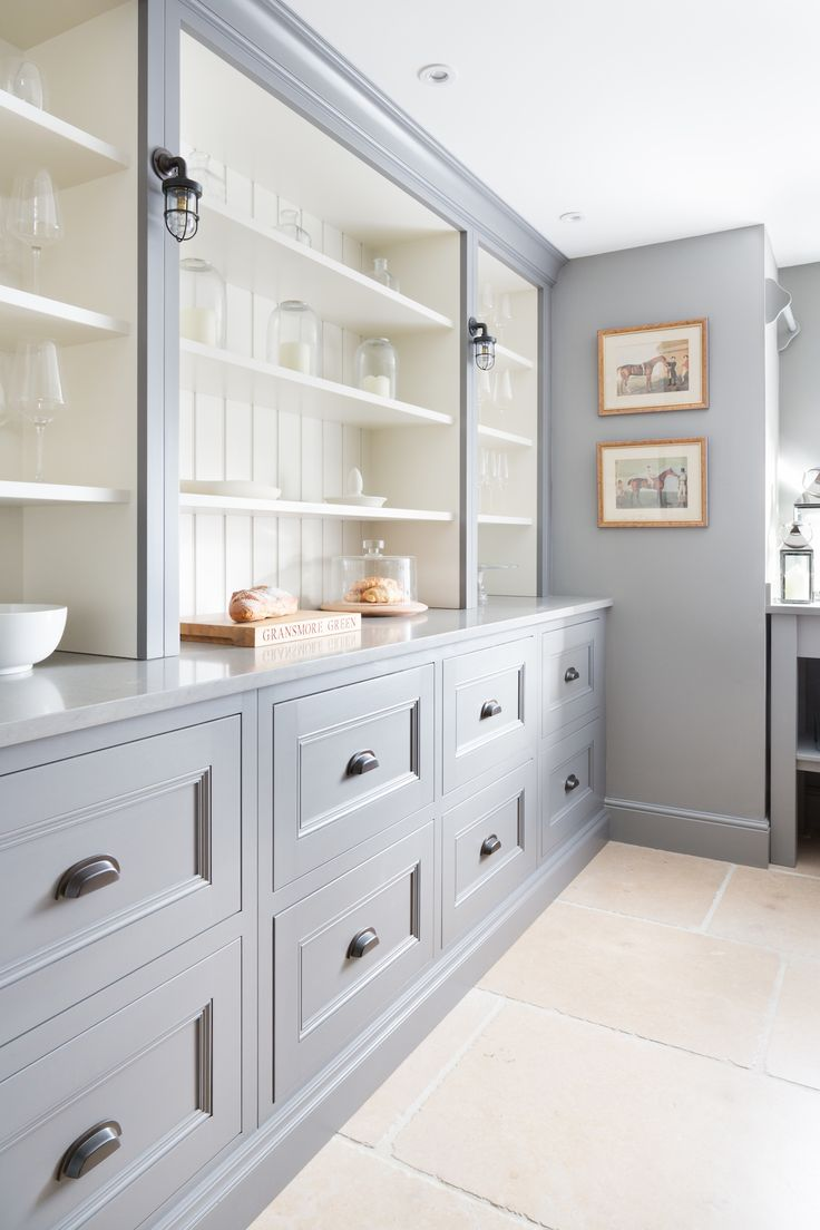 Kitchen Gray Grey Cabinets with open shelving painted White :: by Humphrey Munson Kitchens