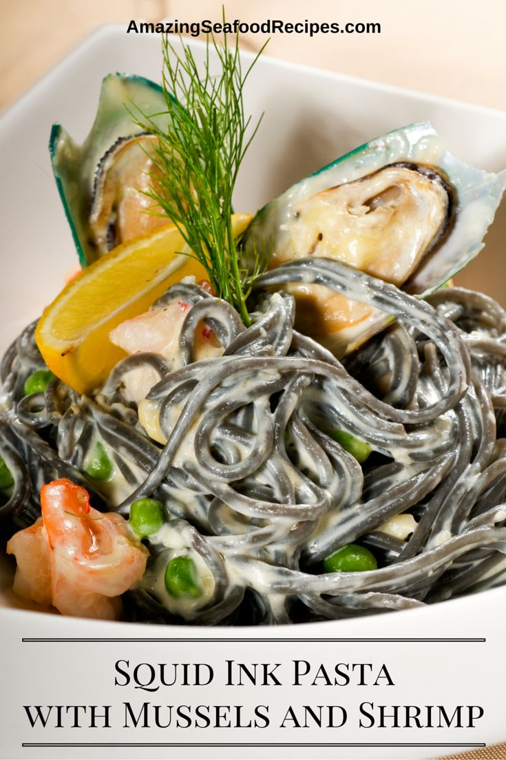 This delightful Italian recipe is made with squid ink spaghetti, mussels, shrimp and a garlicky, cream sauce. This looks really impressive and the flavor is wonderful.