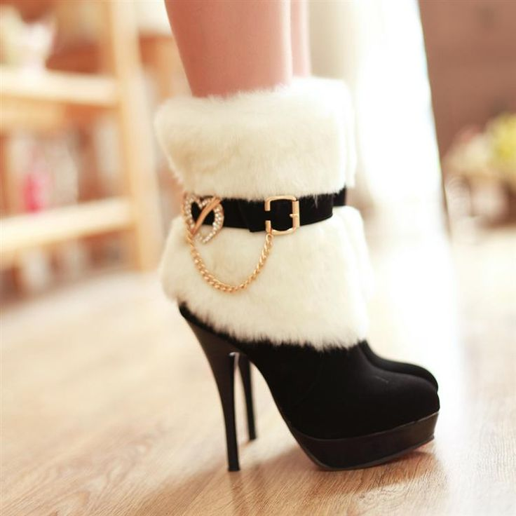 High-heeled shoes platform thin heels platform ankle boots fur boots fashion rhinestone boots ankle-length boots $38.28