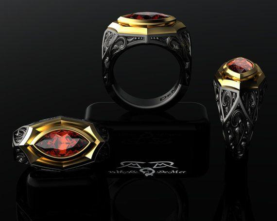 Cigar Band Ring. 14k european gold, black silver. garnet, topaz, amethyst. gothic wayward gun engraving! Named Rosado Perfecto.