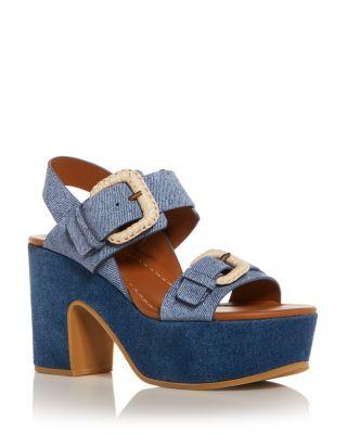 525566ab54ad See by Chloé Women s Denim Print Suede High Heel Platform Sandals ...