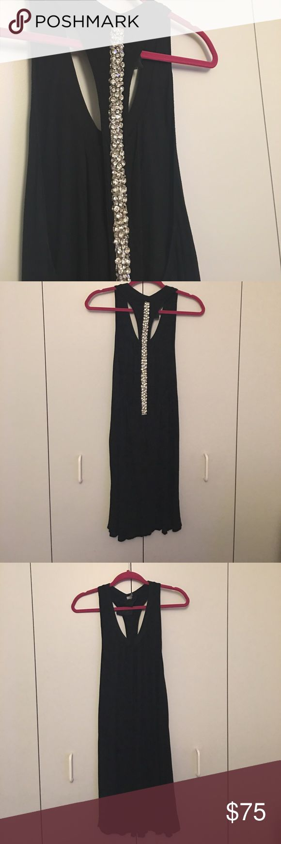 Young, Fabulous, and Broke crystal racerback dress GORGEOUS racerback dress from designer Young Fabulous and Broke. Easy shape, black stretch fabric with very detail crystal beading on the back!! Perfect as a night-out dress or even a super luxe cover up! Extra small, but fits like a small/medium. Young Fabulous & Broke Dresses Backless