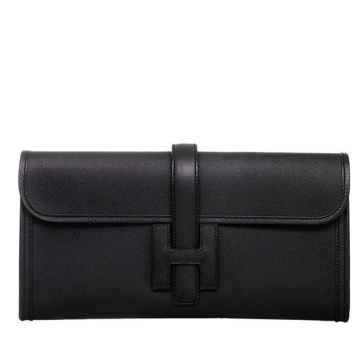 Hermes Jige Elan Epsom Clutch Bag in Black #hermes