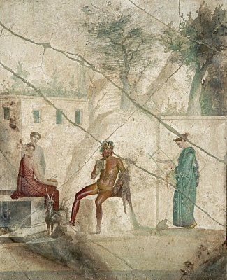 Pompeii, House of Jason, mythological scene of 'Pan & the Nymphs' - AD79eruption
