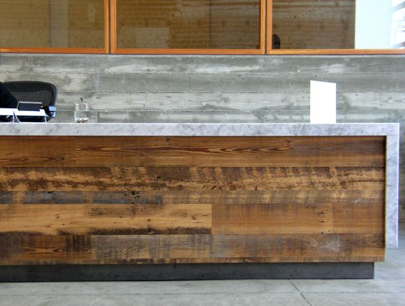 Recycled wood marble top reception desk hotels for Reused wood