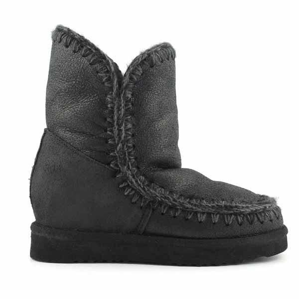 Mou Eskimo Wedge Short Boots Cracked Black - MOU #mou #fashion #newshoes #women #streetstyle