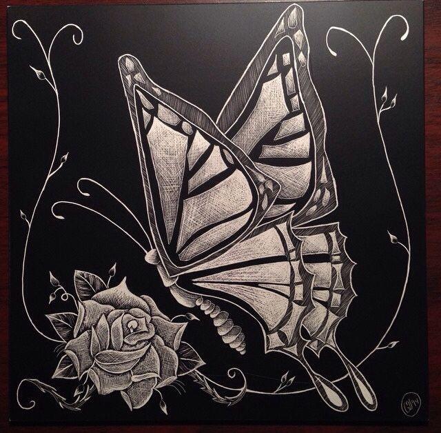 Butterfly scratchboard - photo#15