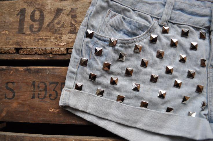 www.viewfromthemoon.co.uk Close up of grey studded denim shorts