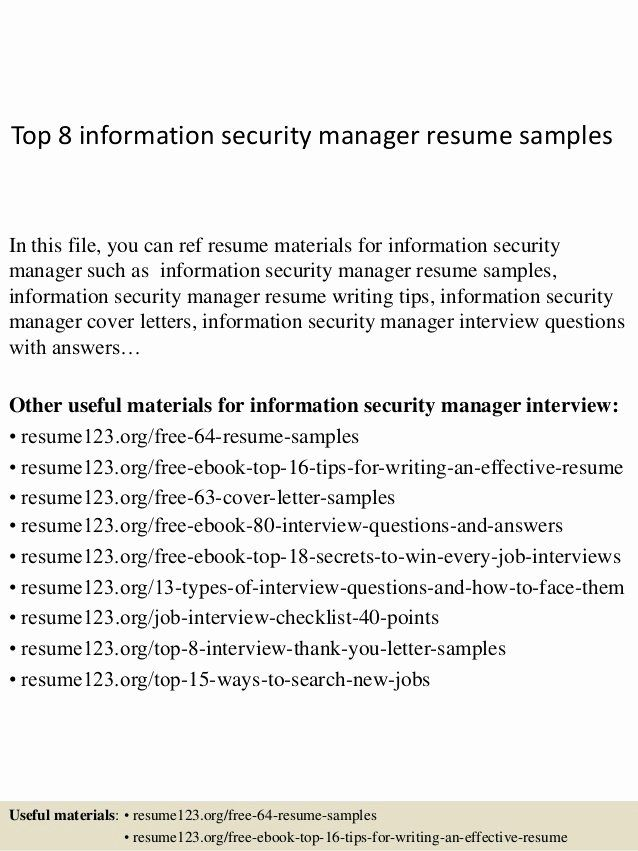 Cyber Security Resume Examples Luxury Top 8 Information Security Manager Resume Samples Di 2020