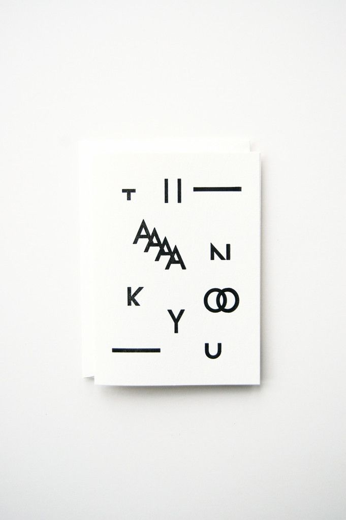"""Single folded note card w/ envelope, 4bar size (3.5"""" x 4 7/8"""") Black ink, letterpress printed on 110# soft white cotton paper Blank inside, so you can write your own message"""