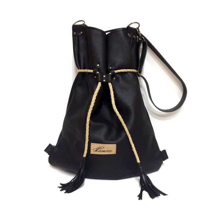Black leather Karmacsi backpack/totebag