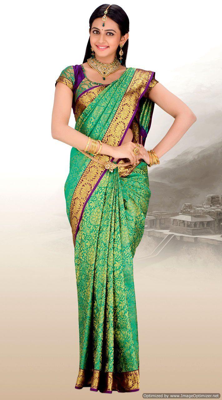 Green pure silk banarasi saree...love the print on the sari.