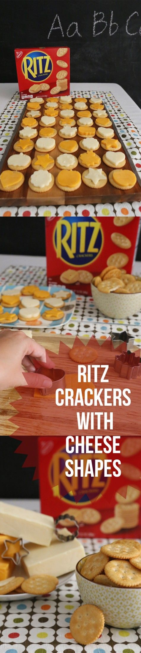 Cheese and crackers are a classic snack -- take things up a notch by cutting out cheese shapes and topping them on RITZ Crackers. [Sp]
