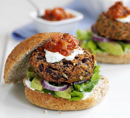 Mexican Bean Burgers With Lime Yogurt & Salsa #FathersDay #Vegeterian