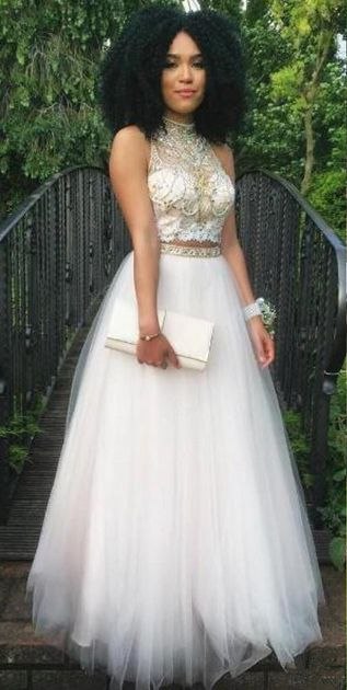 Two Pieces A-Line Beading Prom Dress,Long Prom Dresses,Charming Prom Dresses,Evening Dress, Prom Gowns, Formal Women Dress,prom dress