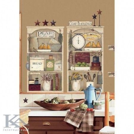 Sticker decorativ COUNTRY KITCHEN SHELVES. Bucatarie rustica!  #stickerbucatarie  http://www.ka-international.ro/stickere.html