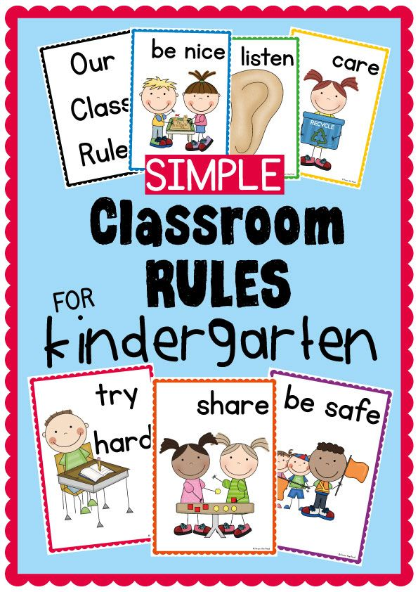 Simple Kindergarten Classroom Rules Posters $