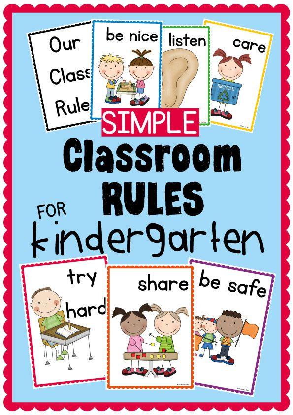 Simple Kindergarten Classroom Rules Posters $