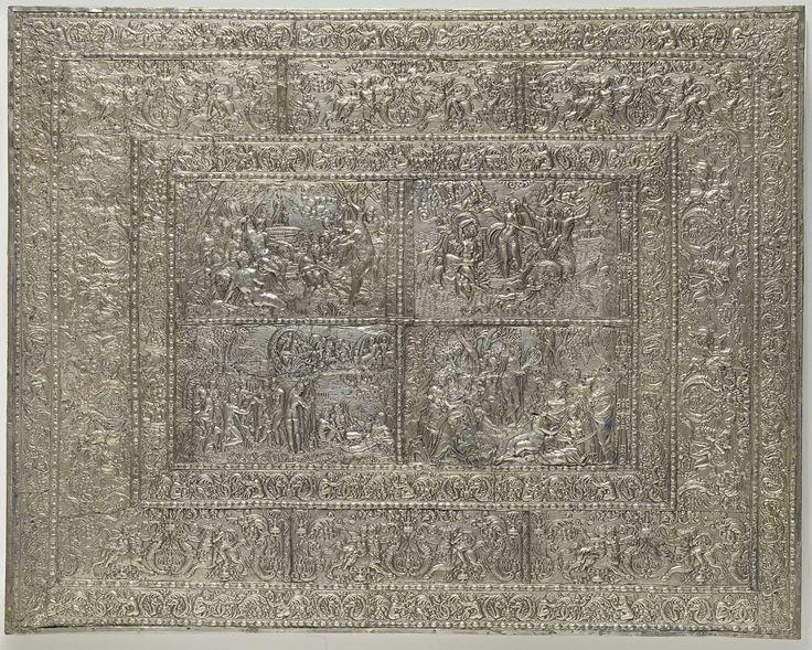 Schraagtafel van naaldhout belijmd met ebbenhout en zilver, Anonymous, 1600