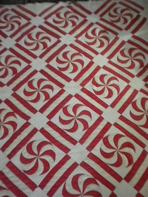 Vintage 1930s Red White Pinwheel Quilt Hand Made Tons of Quilting