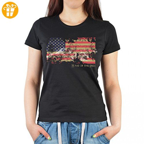 T-Shirt für Damen mit US Amerika Aufdruck - US-Fahne - patriotisch bedrucktes Oldtimer Ladyshirt als Geschenk - Schwarz, Größe:M (*Partner-Link)
