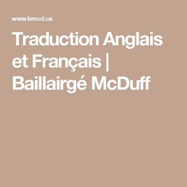 Traduction Anglais et Français | Baillairgé McDuff