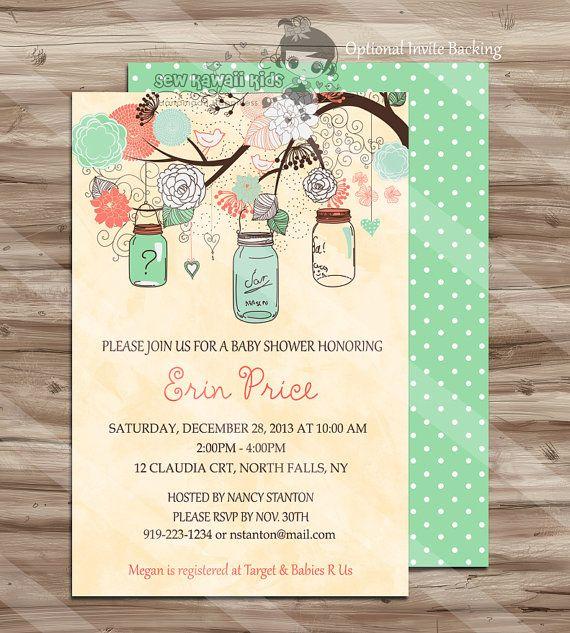 Gender Neutral Baby Shower Invitation, Shabby Chic, Elegant Simple Baby Shower Invite, Baby Shower, Tree Birds - Digital Printable: JPG File on Etsy, $10.00