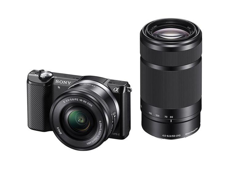 Sony Alpha 5000 fekete digitális fényképezőgép váz + 16-50mm és 55-210mm objektív
