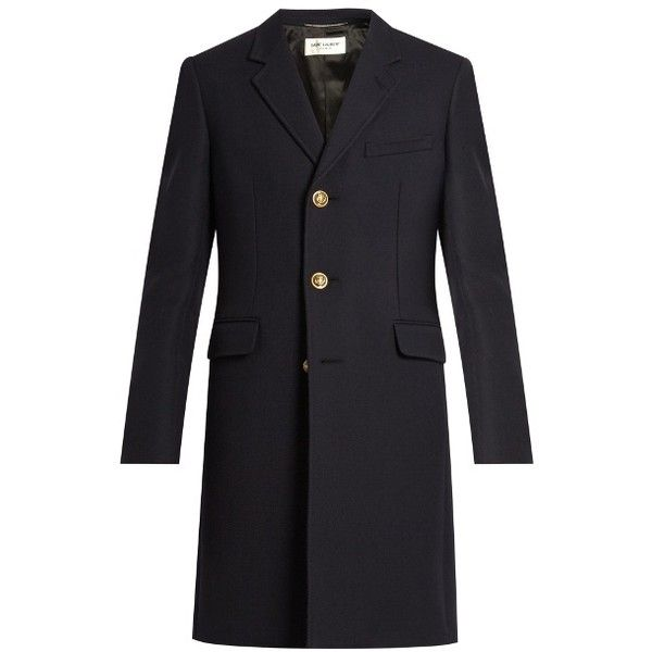 Saint Laurent Single-breasted wool and silk-blend twill coat ($2,990) ❤ liked on Polyvore featuring men's fashion, men's clothing, men's outerwear, men's coats, mens wool outerwear, mens wool military coat, mens navy pea coat, mens slim fit coat and mens wool coats