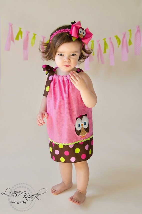 Owl Pillowcase Dress Pink Green Perfect for Birthday Look Whoos 1