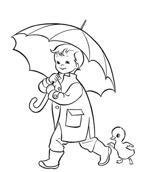 Umbrella Coloring Pages Preschool