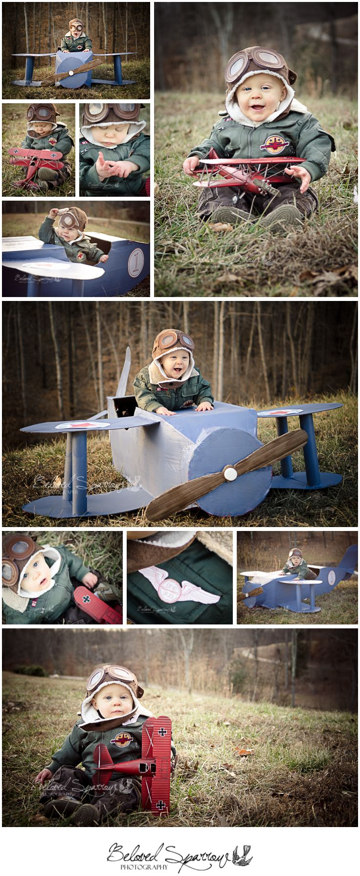 One Year Old Boy Portrait Session | One Year Old Portrait Ideas | Vintage Airplane Birthday Portrait | Baby Aviator Pilot Portraits | Cardboard Airplane Prop | Atlanta Professional Photographer | First birthday theme ideas  www.belovedsparrow.com