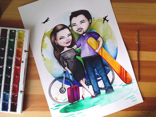 portrait by #dushky | #art #illustration #painting #watercolor #portrait #couple #bike #travel