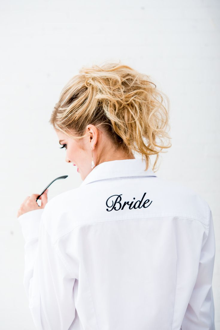 These bridal party button down shirts are great gifts for the bridesmaids and bride!