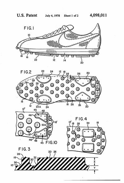 Credit: U.S Patent and Trademark Office Patent drawing for the original Nike Waffle-soled trainer. The patent was granted in 1978