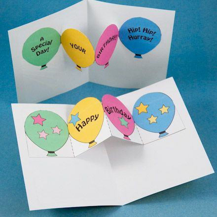 Easy Pop-Up Card Patterns | Tip: For an easier to make pop-up, only cut the top of the balloons or ...