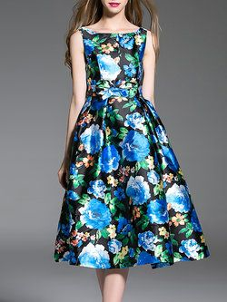 Blue Floral Swing Sleeveless Elegant Polyester Midi Dress