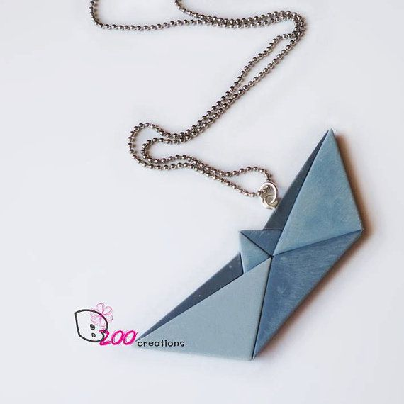 Origami boat pendant / Polymer clay