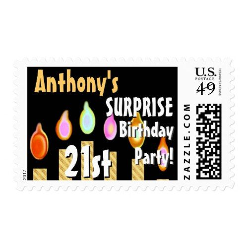 CUSTOM 21st - 29th Birthday Party Stamp - GOLD