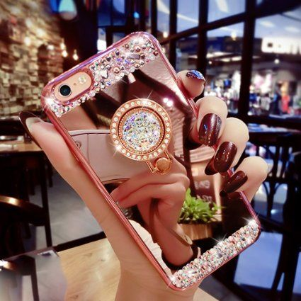 iPhone 7 Plus Case, Black Lemon Luxury Crystal Rhinestone Soft Rubber Bumper Bling Diamond Glitter Mirror Makeup Case with Ring Stand Holder  (iPhone 7 Plus, Rose Gold)